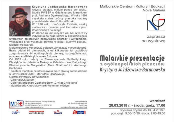 Malbork Malarskie Prezentacje Krystyny Jażdżewskiej Baranowskiej