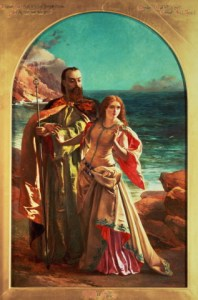 Prospero with the daughter Miranda, a painting by William May Egley, 1850.