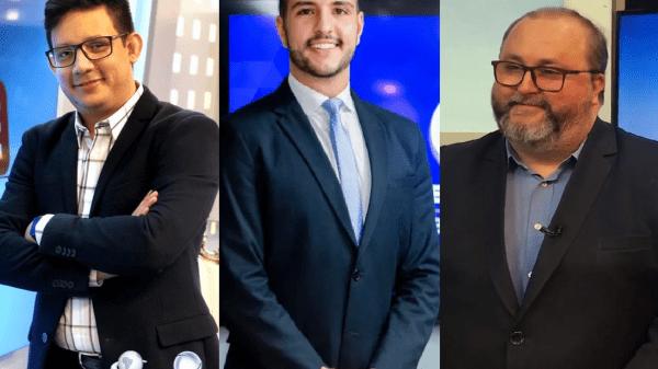 """Erlan Bastos, Matheus Ribeiro e Alexandre Mota concorrem à vaga no """"Balanço Geral Manhã"""" (Foto: Montagem POP Mais; Reprodução)"""
