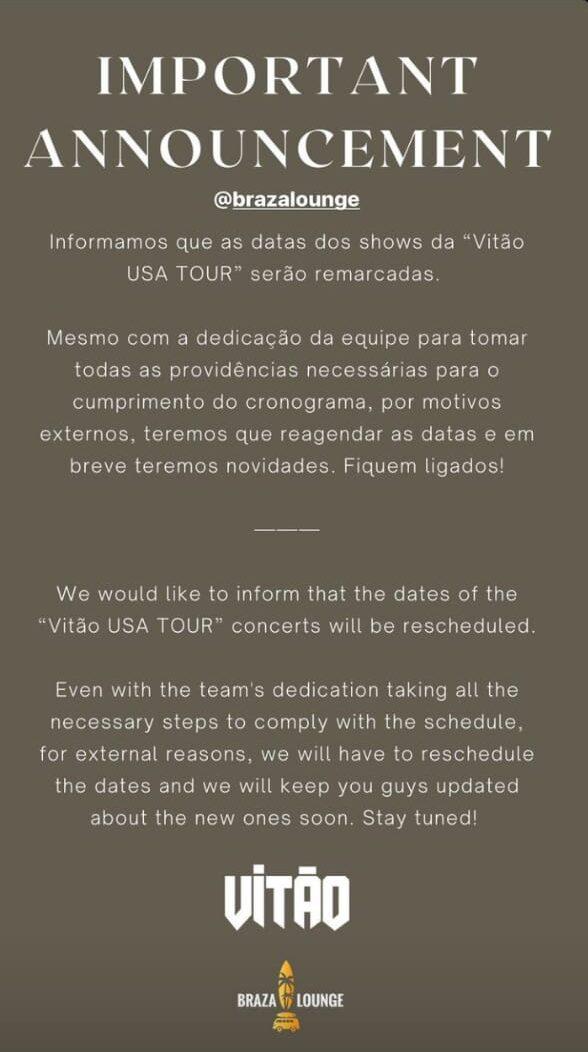 Vitão via Stories do Instagram - Reprodução