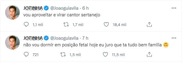 João Guilherme surta após boato que Jade Picon e Neymar teriam ficado
