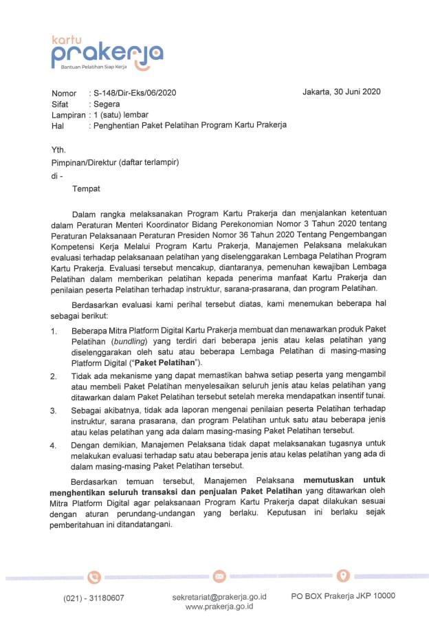 Pemerintah Setop Penjualan Paket Pelatihan Kartu Prakerja