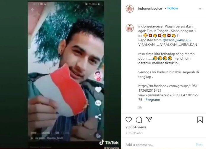 Pria bakar dan robek bendera Merah Putih (Instagram/indonesiavoice_)