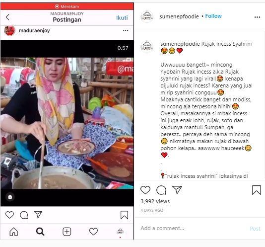 Viral! Wajahnya Mirip Syahrini, Penjual Rujak Ini Mendadak Ramai Pembeli. (Instagram/@maduraenjoy/@sumenepfoodie)