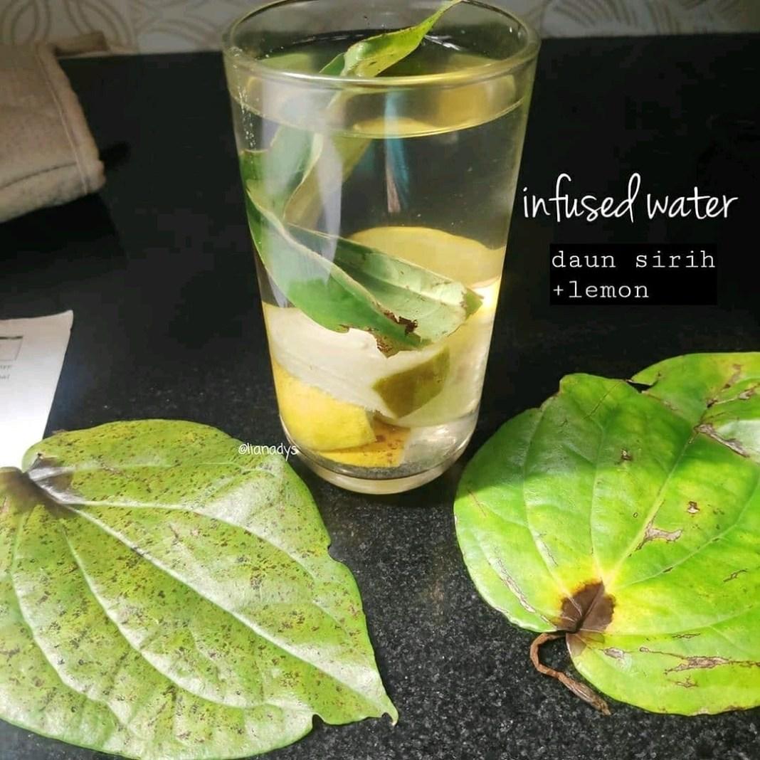 Infused water   Daun sirih + lemon    Manfaat daun sirih •Menurunkan gula darah ...