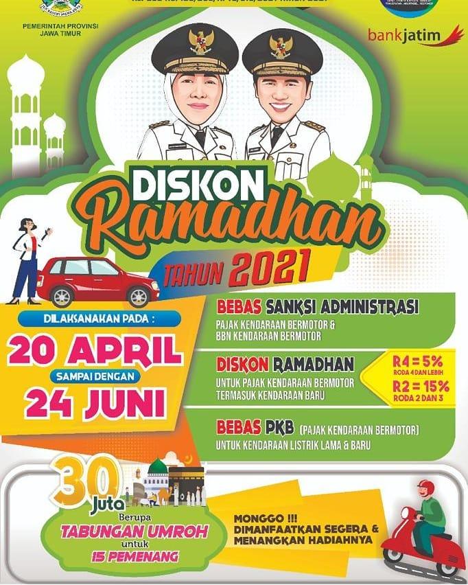 Khusus Warga Jawa Timur ada DISKON RAMADHAN Tahun 2021 Mulai 20 April sd 24 JUNI 2021 Sudah BEB…