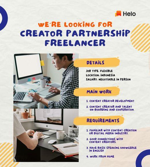 Lowongan Kerja Creatir Partnership Freelancer Kualifikasi 1 Paham