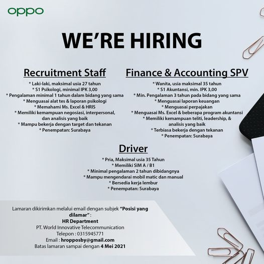 PT World Innovative Telecommunication is hiring if youre qualified please