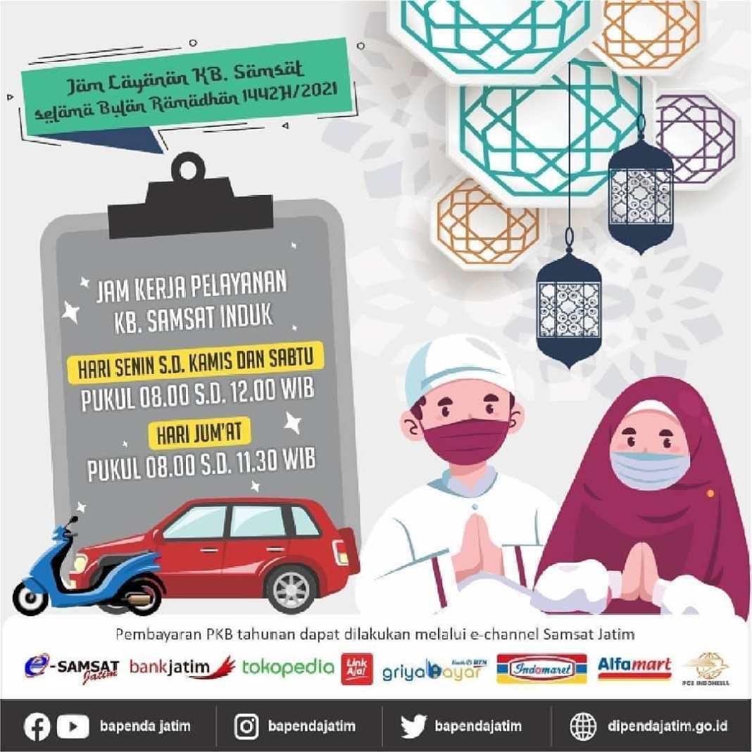 Monggo disimak jam layanan samsat INDUK seluruh Jawa Timur selama bulan ramadhan. Jangan lewatk…