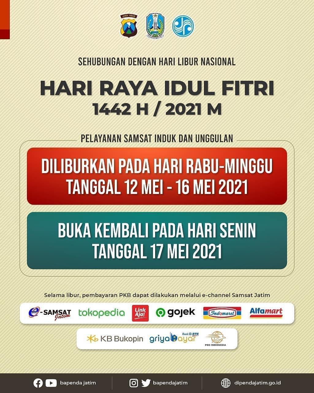 Pengumuman Libur Samsat Jatim.  Sehubungan dengan libur Hari Raya Idul Fitri 1442H / Tahun 2021…