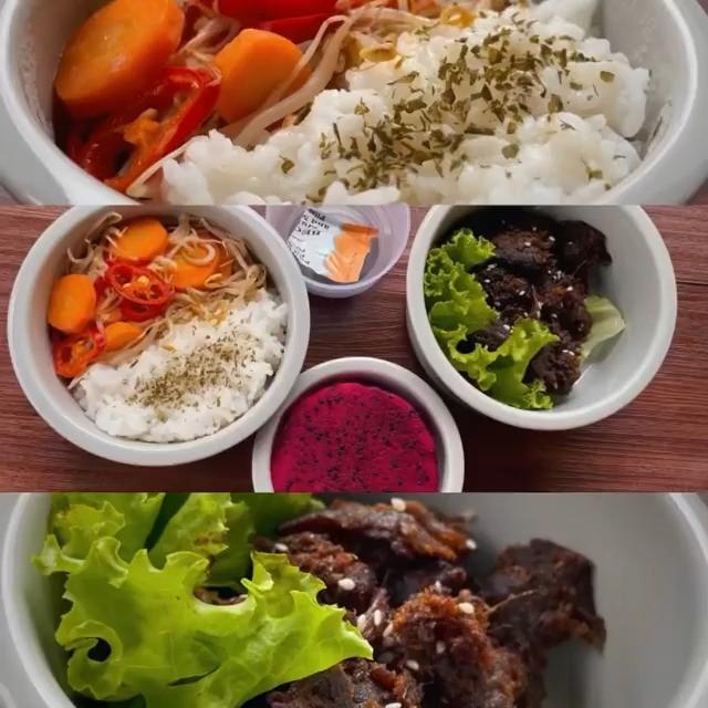 Info kuliner, Empal gepuk , tumis toge wortel & buah naga   Bahan-bahan Empal gepuk : – Daging – Bawang merah…