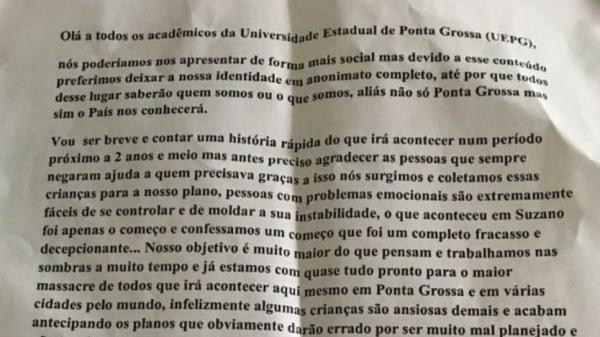 Universidade do Paraná fica em alerta após carta com ameaça de atentado