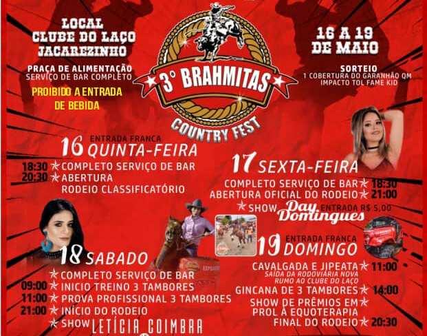 """Jacarezinho e Região:  Hoje 17/05 contínua o terceiro Brahmitas country fest """" Compareçam"""""""