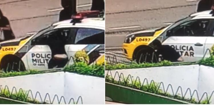 Câmera flagra e ladrão 'ousado' é preso por furtar celular de dentro de viatura da PM