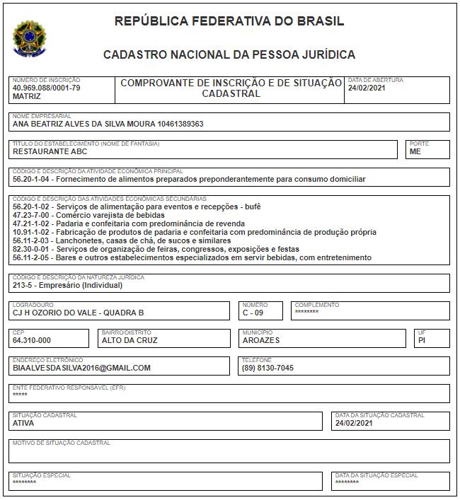 Comprovante de inscrição no CNPJ da empresa ABC Restaurante.