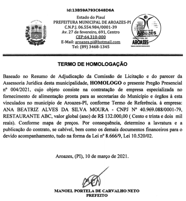 Termo de homologação do contrato assinado pela Prefeitura de Aroazes.