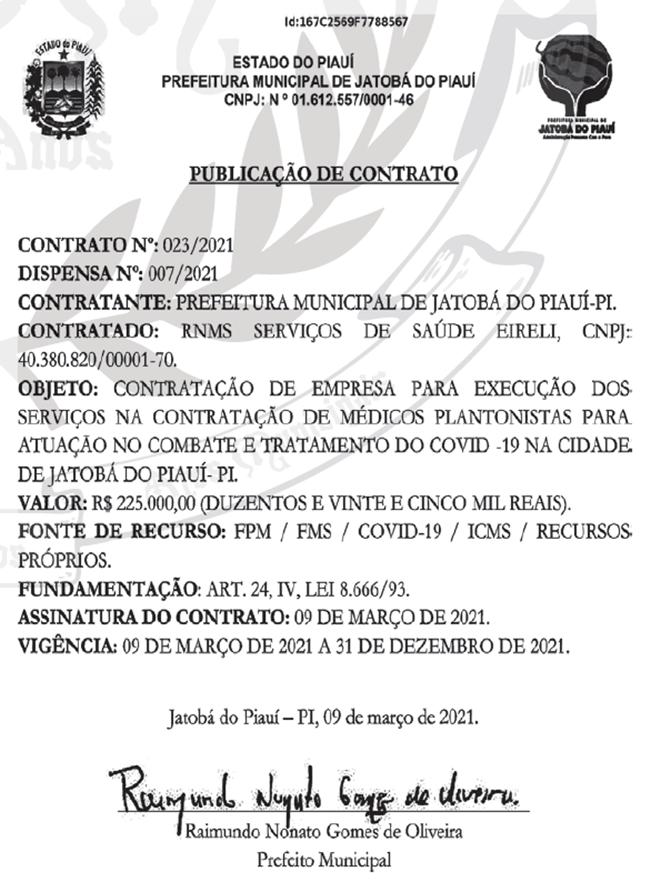 Extrato do contrato firmado pela Prefeitura de Jatobá do Piauí.