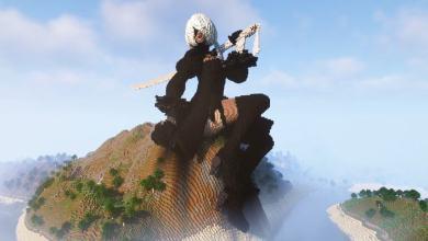 Фанат Minecraft Вручную Построил Огромную Статую 2B из NieR Automata