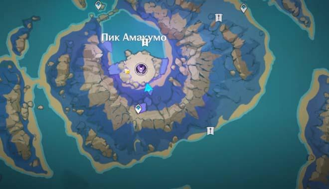 Карта с изображением Пика Амакумо