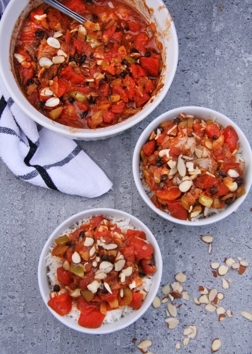 Chicken Curry with Tomatoes, Currants & Almonds
