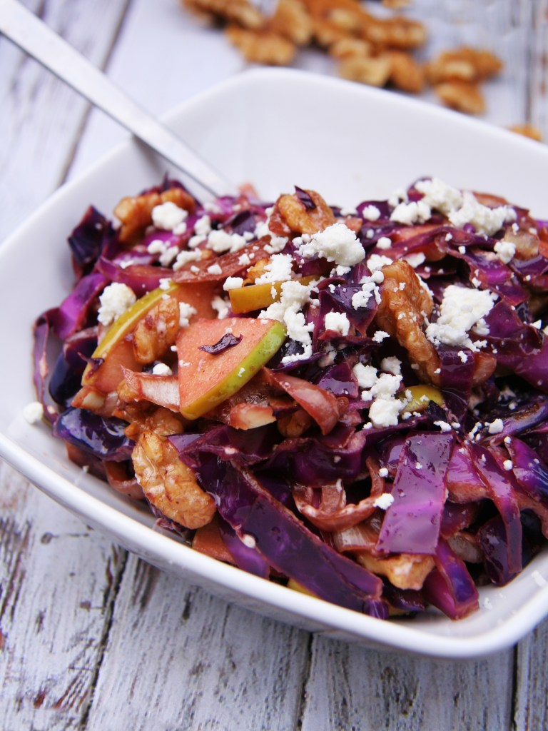 Warm Red Cabbage Salad with Goat Cheese & Walnuts