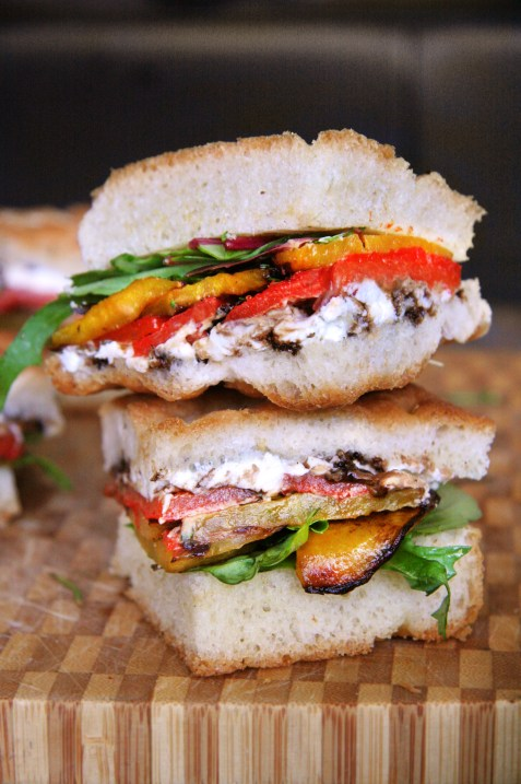 Roasted Yellow Beet & Goat Cheese Sandwich with Fresh Rosemary, Roasted Peppers & Balsamic Vinegar