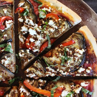 Roasted Red Pepper, Eggplant & Goat Cheese Pizza