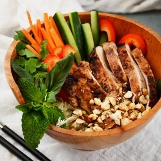 Vietnamese Salad with Black Bean Roasted Chicken