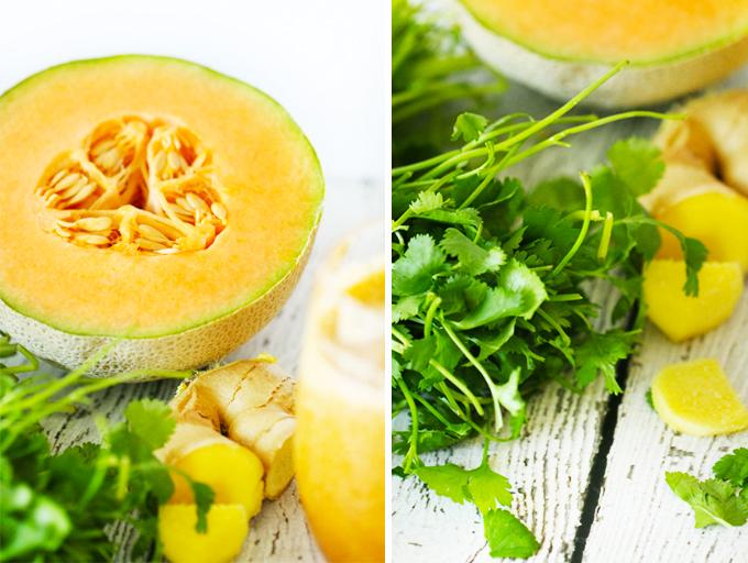 Cantaloupe Smoothies with Ginger & Cilantro