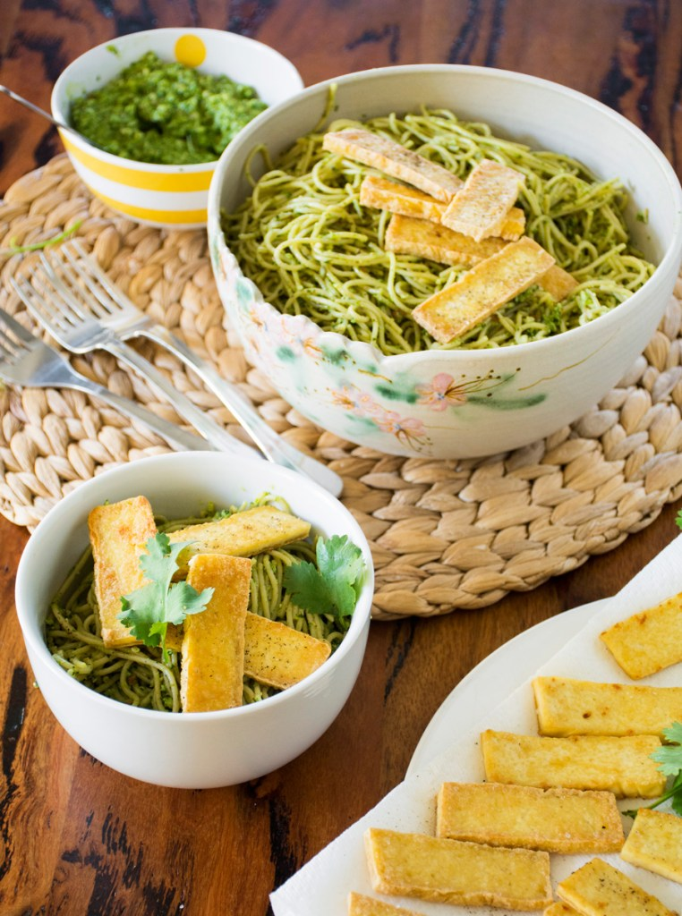Spaghetti with Cilantro Pesto & Crispy Fried Tofu