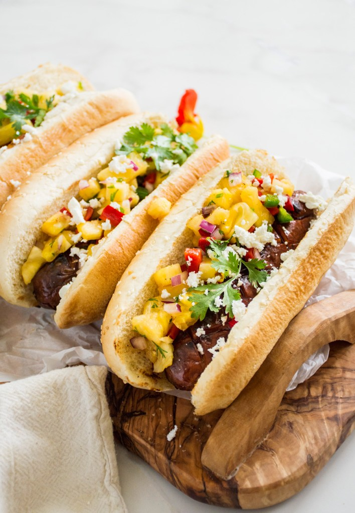 Hoisin Glazed Hot Dogs with Pineapple Salsa