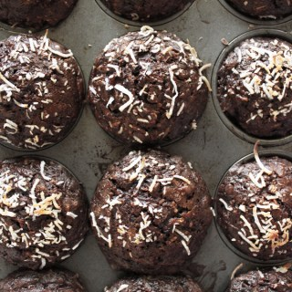 Chocolate & Toasted Coconut Zucchini Muffins