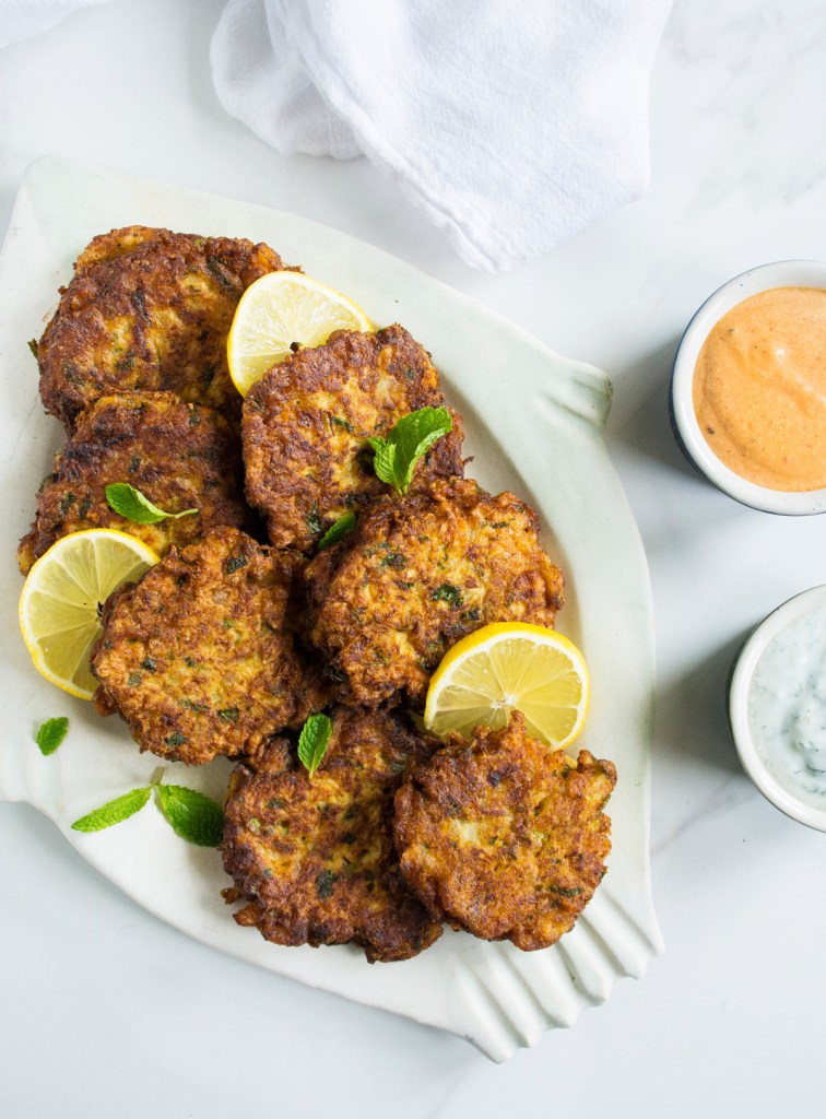 Cauliflower Fritters with Two Dipping Sauces