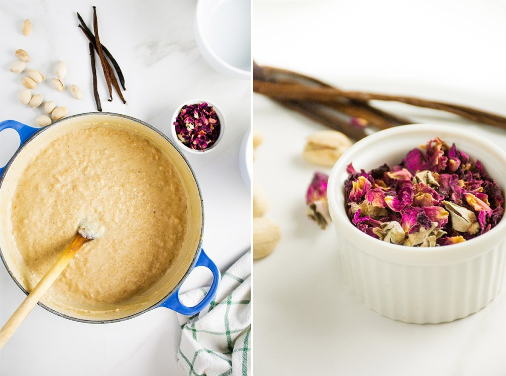 Rose Scented Rice Pudding with Vanilla, Cardamom & Pistachio