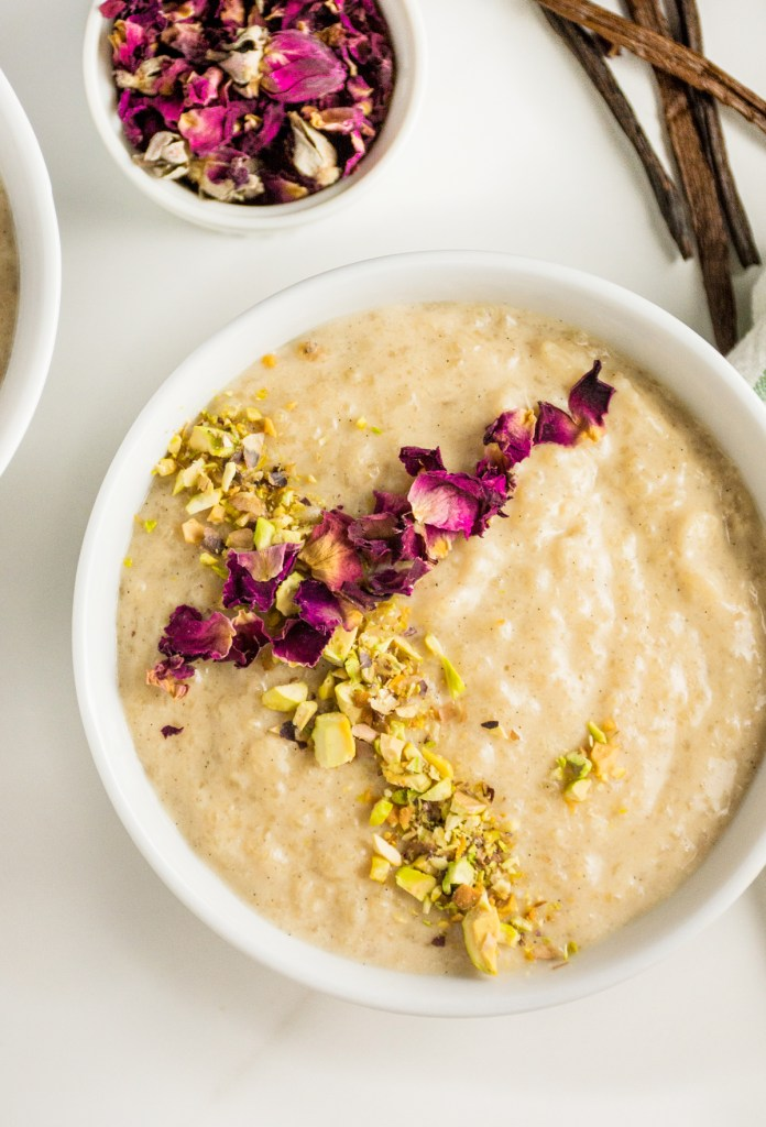 Rose Scented Rice Pudding with Vanilla, Cardamom & Pistachio