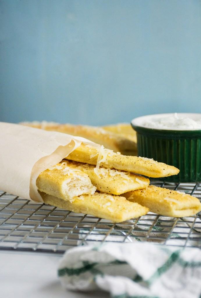 Chewy Garlic Parmesan Breadsticks
