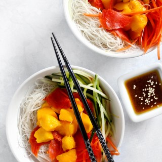 Mango Salmon Rice Noodle Salad with Soy Sauce Vinaigrette