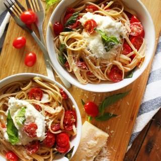 Tomato Linguine with Basil & Burrata