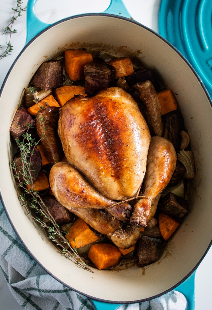 Aromatic Red Wine Roasted Chicken