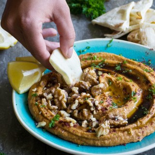 Roasted Red Pepper Hummus with Pomegranate Molasses