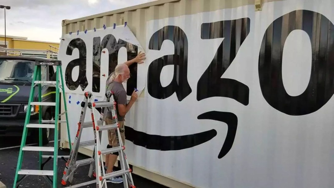 Amazon shipping container at Whole Foods partial wrap
