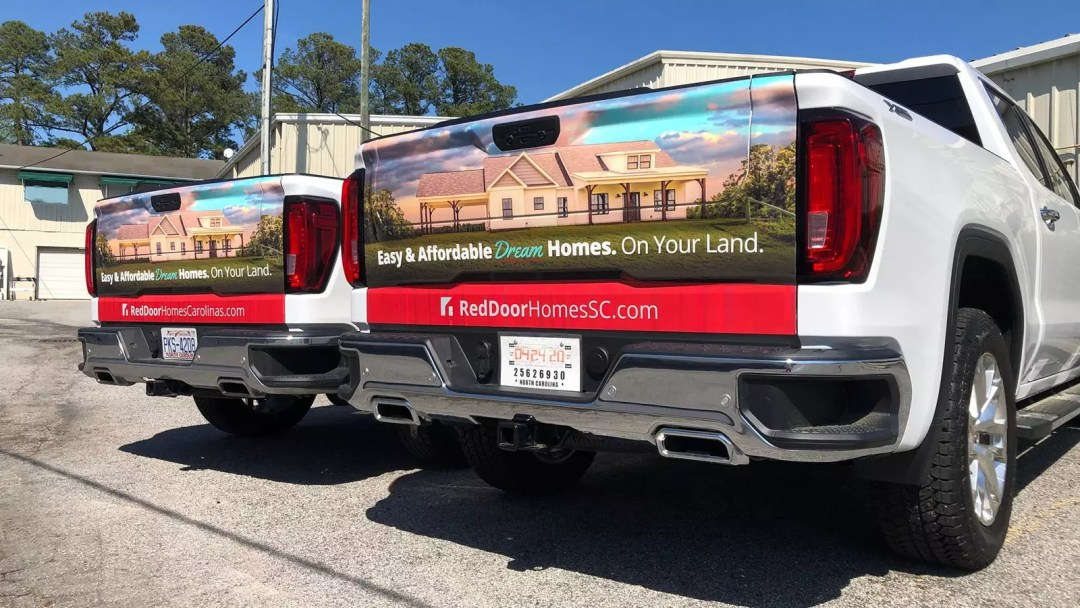 Red Door Homes tailgate partial wrap