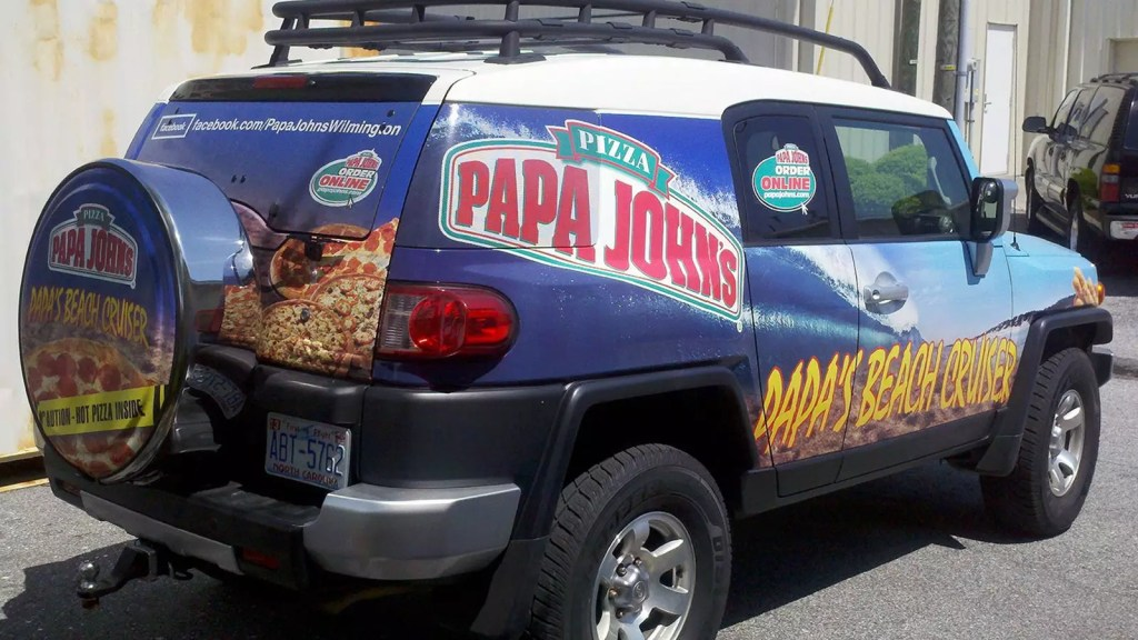 Papa Johns SUV with Full Wrap and Perforated (View-thru) Window Vinyl
