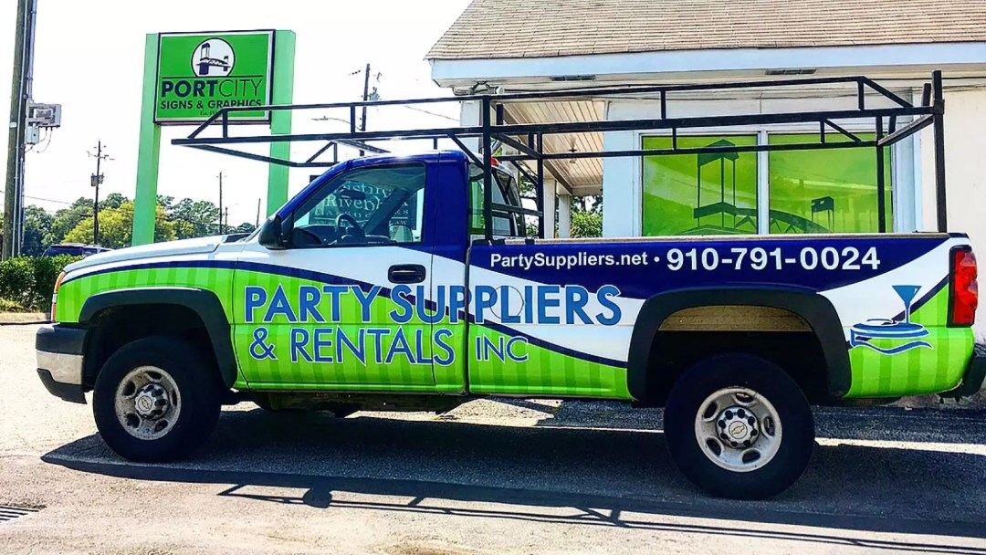 Party Suppliers & Rentals truck wrap