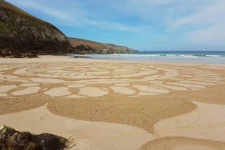 Un râteau, des copains et à vous les somptueux mandalas sur plage !