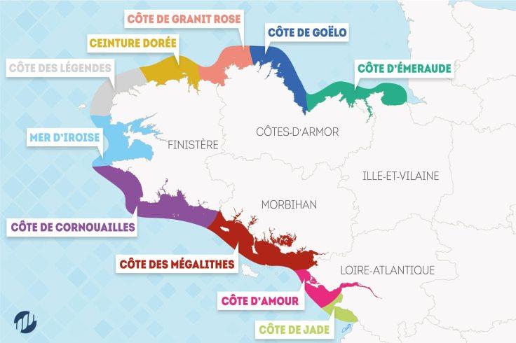Carte de la région Bretagne avec les noms des côtes du littoral breton