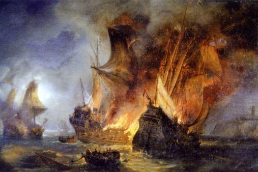 Le tableau du combat de La Cordelière, de Pierre-Julien Gilbert.