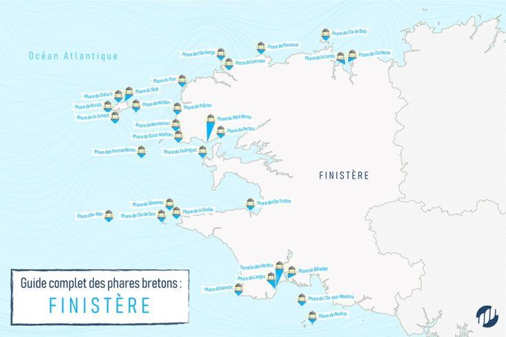 Carte des phares bretons dans le Finistère
