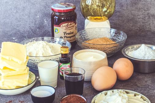 Ingrédients de la recette des muffins