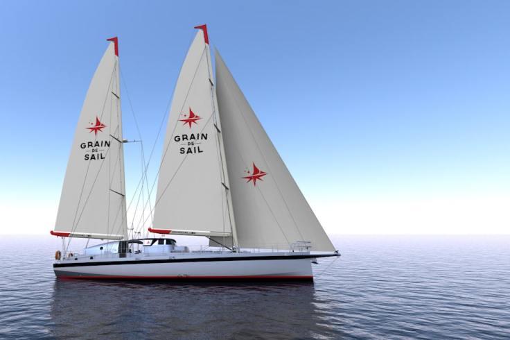 Image 3D du voilier pour transport le chocolat et café Grain de Sail
